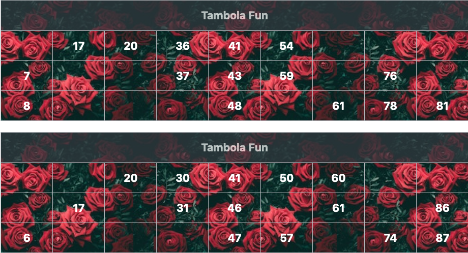 black flowers tambola tickets