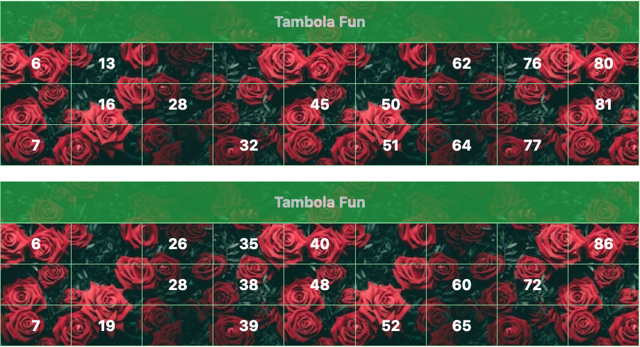 green flowers tambola tickets