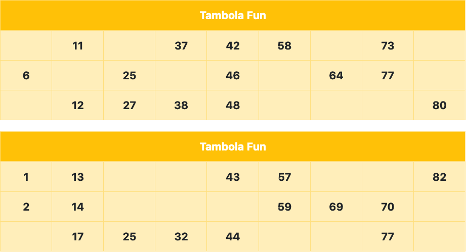 yellow standard tambola tickets
